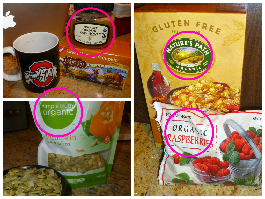 Organic products, organic honey, organic raspberries, organic pumpkin seeds, organic cereal